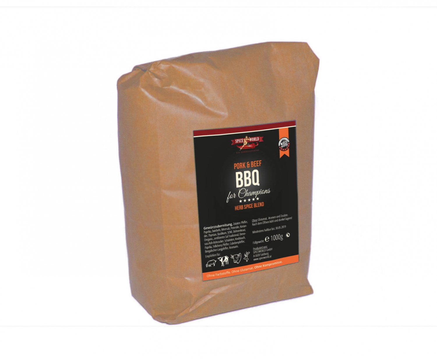 Barbecue-for-Champions Pork & Beef - Herb Spice Blend, 1000g Beutel 1kg Beutel