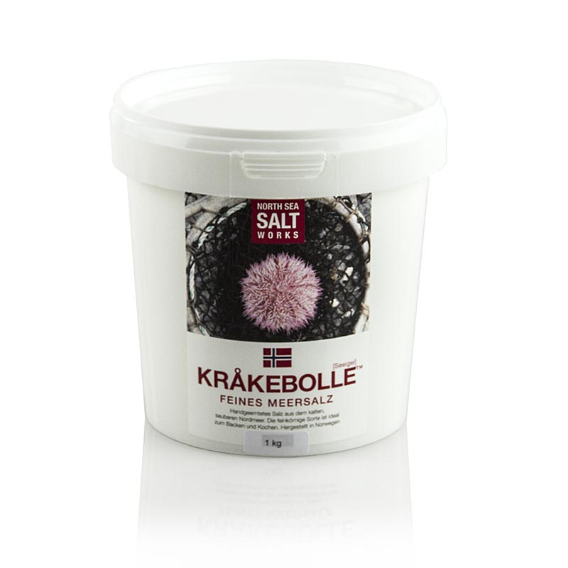 North Sea Salt Works, KRÅKEBOLLE feines Meersalz, aus Norwegen, 1 kg PE-EIMER